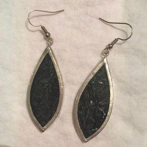 Beautiful Dark Gray/Black Stained Glass Earrings